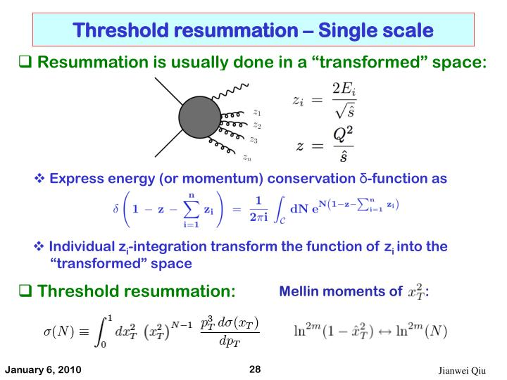 Threshold resummation – Single scale