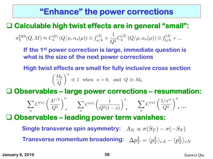 """Enhance"" the power corrections"
