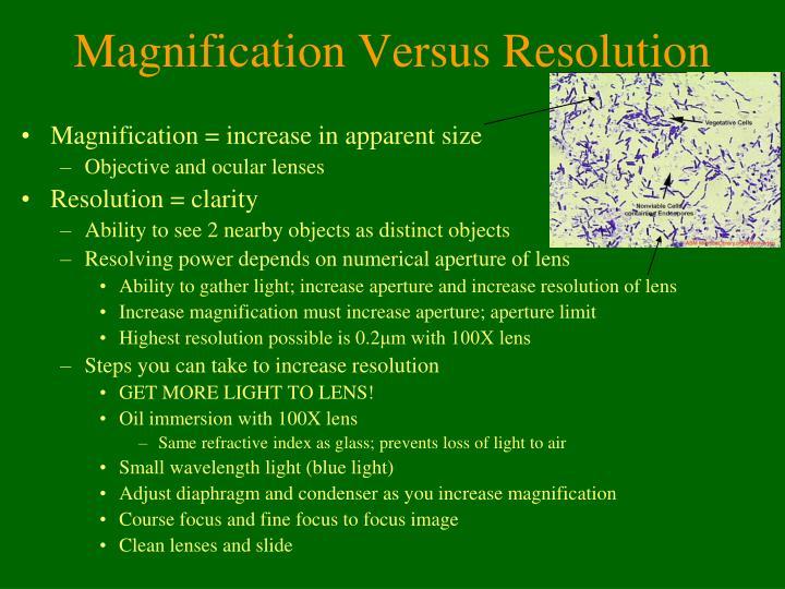 Magnification Versus Resolution