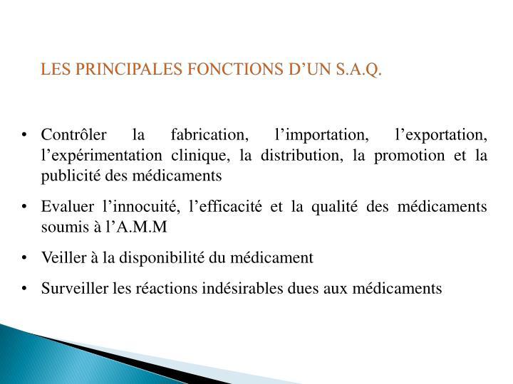 LES PRINCIPALES FONCTIONS D'UN S.A.Q