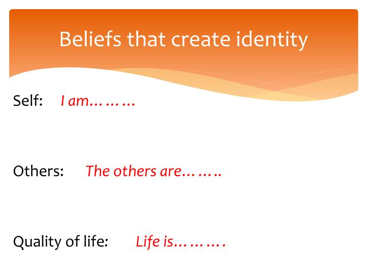 Beliefs that create identity