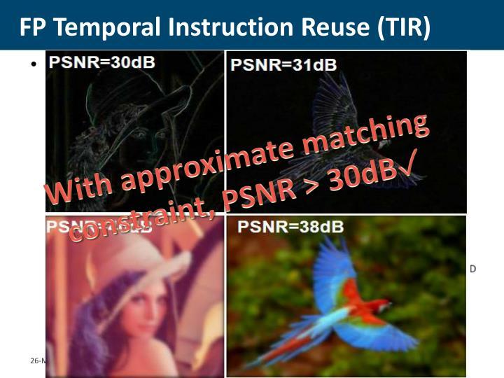 FP Temporal Instruction Reuse (TIR)