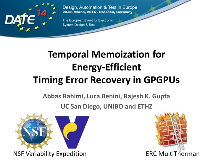 Temporal memoization for energy efficient timing error recovery in gpgpus