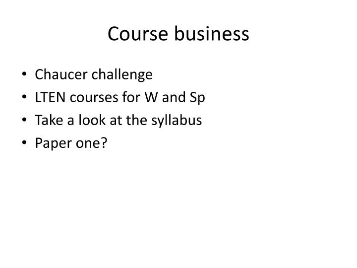 course business n.