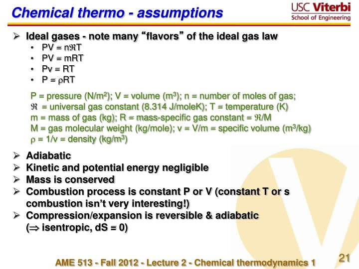 Chemical thermo - assumptions