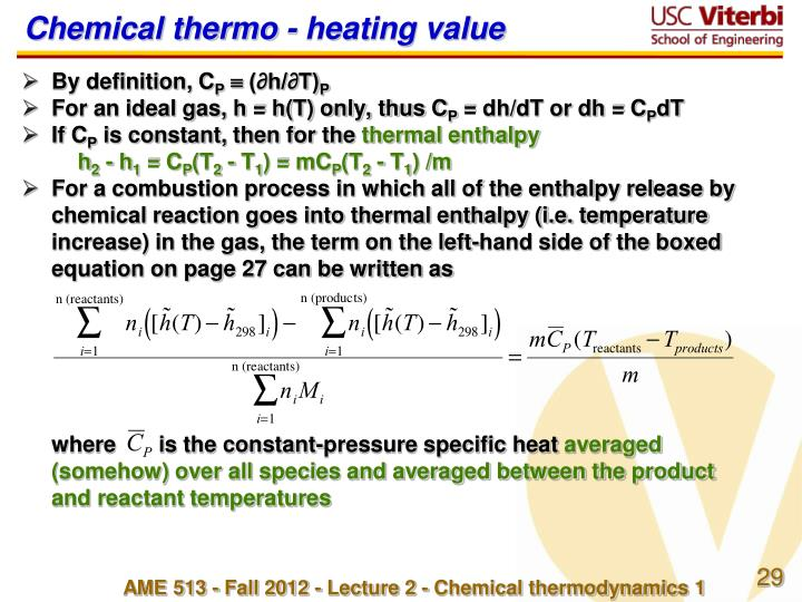 Chemical thermo - heating value