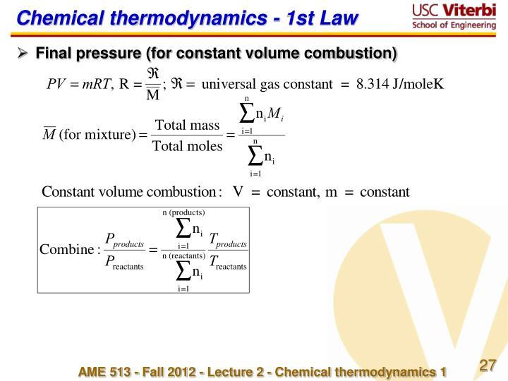 Chemical thermodynamics - 1st Law