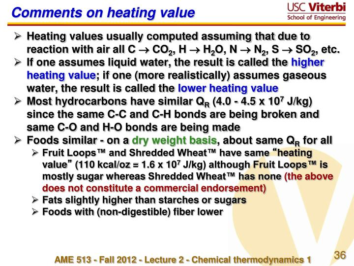 Comments on heating value