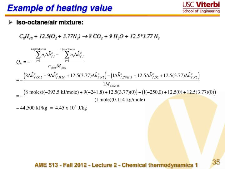 Example of heating value