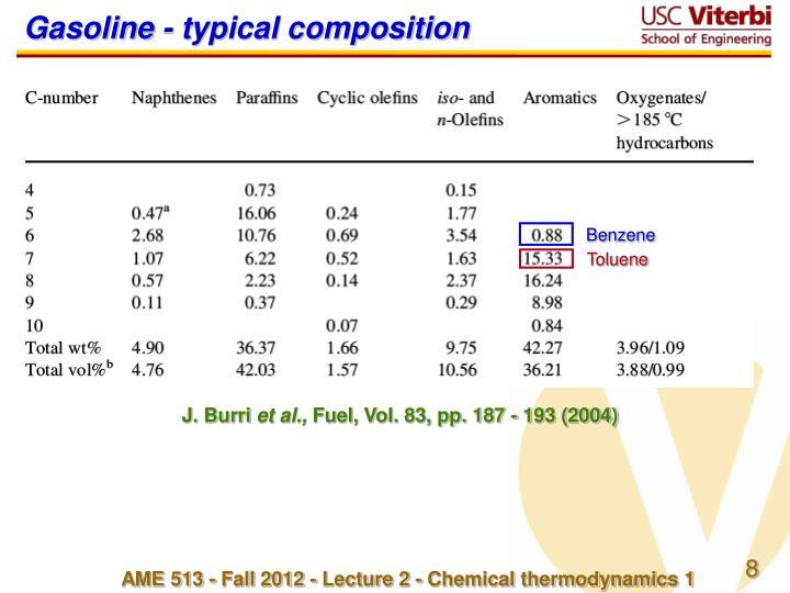 Gasoline - typical composition