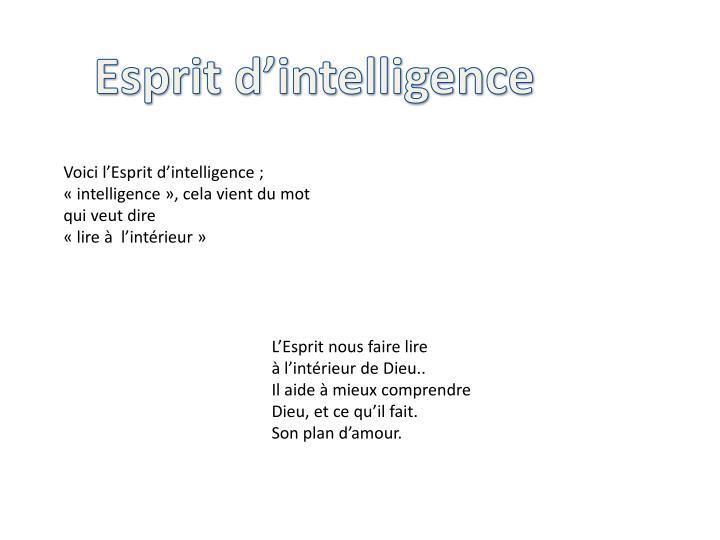 Esprit d'intelligence
