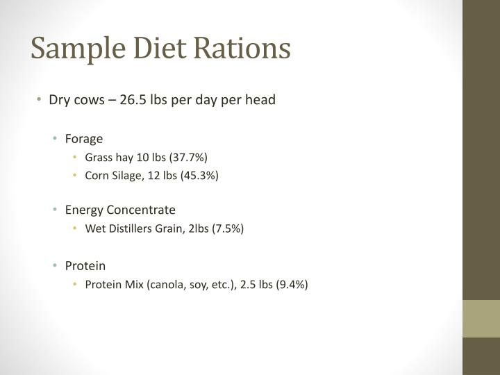 Sample Diet Rations