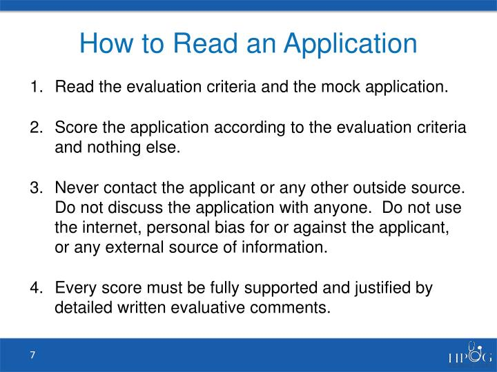 How to Read an Application
