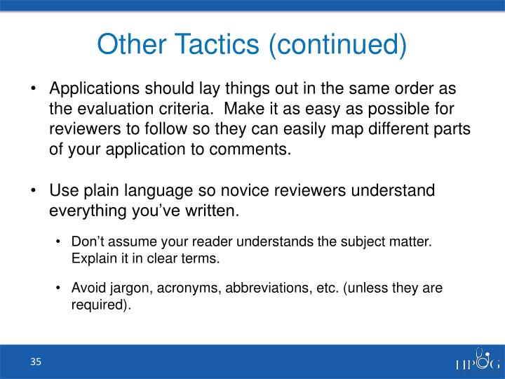 Other Tactics (continued)