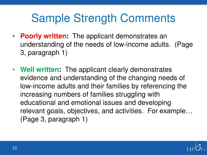 Sample Strength Comments