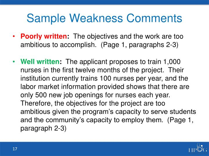 Sample Weakness Comments