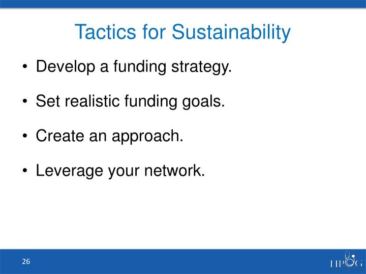 Tactics for Sustainability