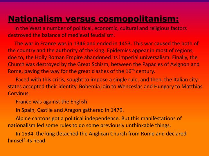 nationalism vs cosmopolitanism The borders of nationalism and patriotism: cosmopolitanism according to kok-chor tan paper for the seminar on ethics and public policy.