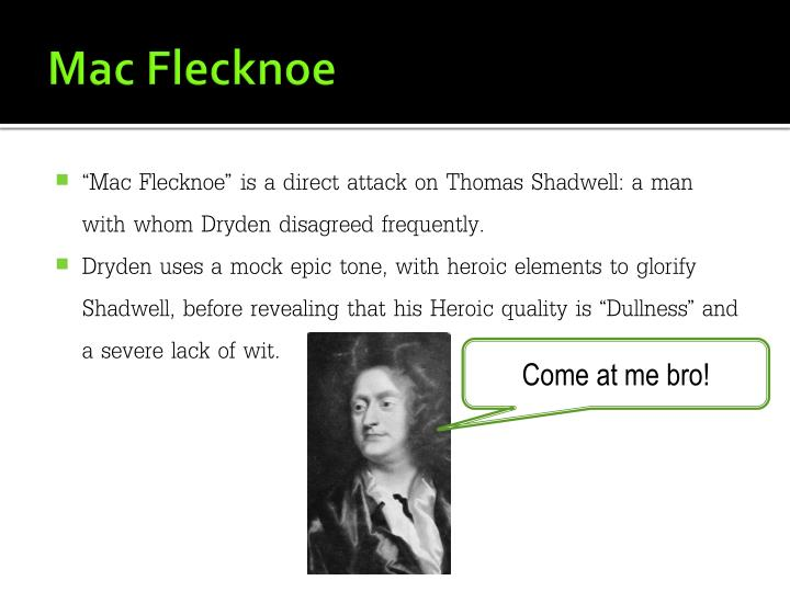 john dryden mac flecknoe as a mock epic