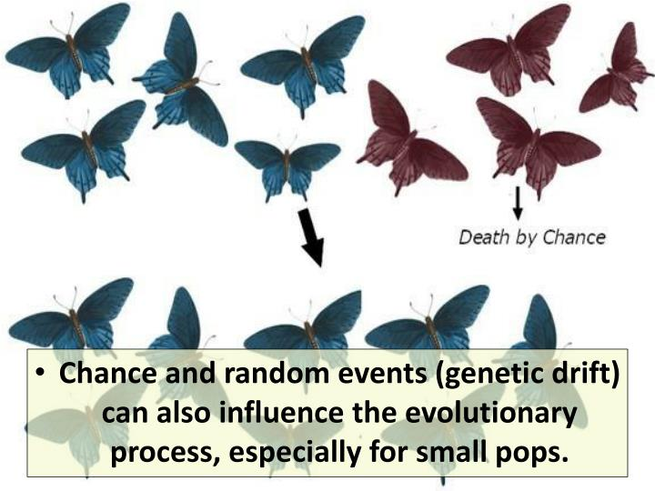 Chance and random events (genetic drift) can also influence the evolutionary process, especially for small pops.