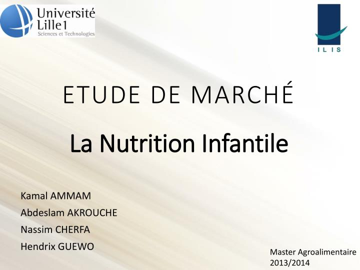 etude de march la nutrition infantile n.