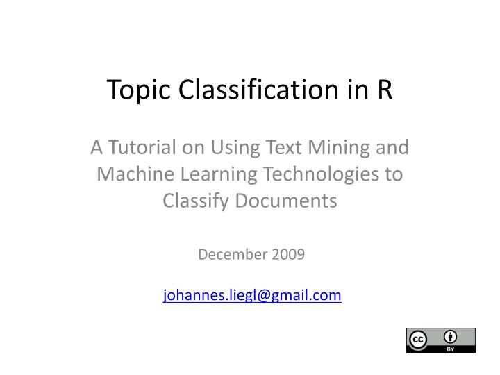 topic classification in r n.