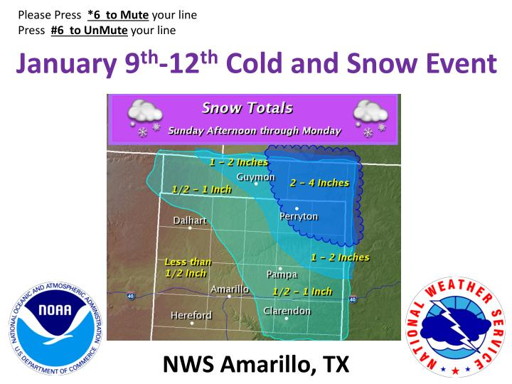 january 9 th 12 th cold and snow event n.