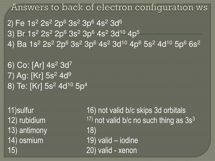 Answers to back of electron configuration