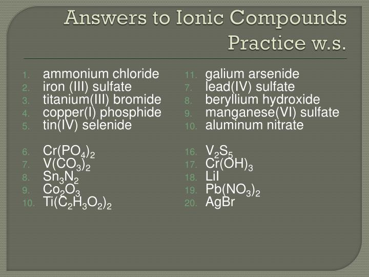 Answers to Ionic Compounds Practice