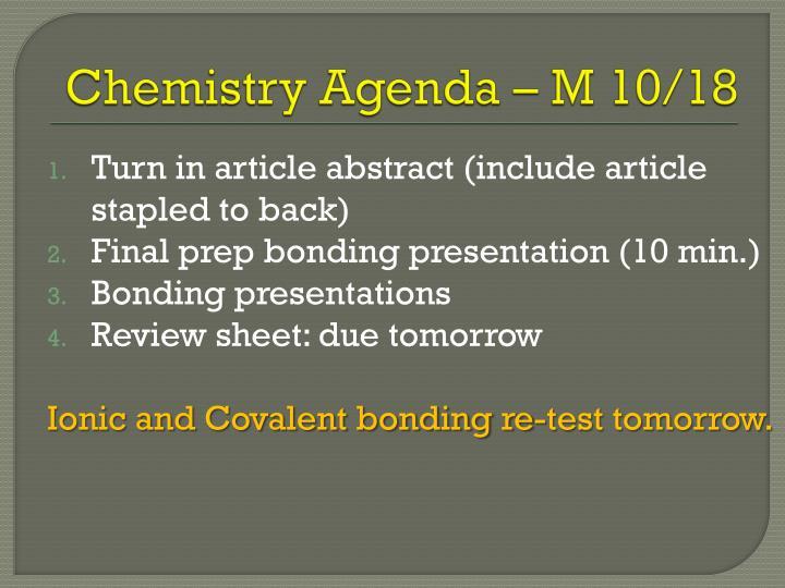 Chemistry Agenda – M 10/18
