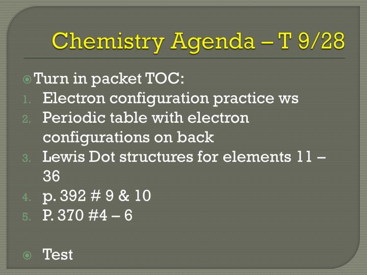 Chemistry Agenda – T 9/28