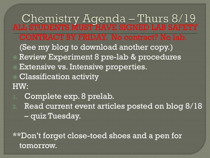 Chemistry Agenda – Thurs 8/19