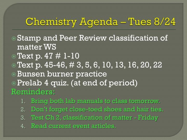 Chemistry Agenda – Tues 8/24