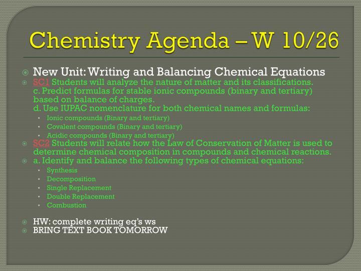 Chemistry agenda w 10 26