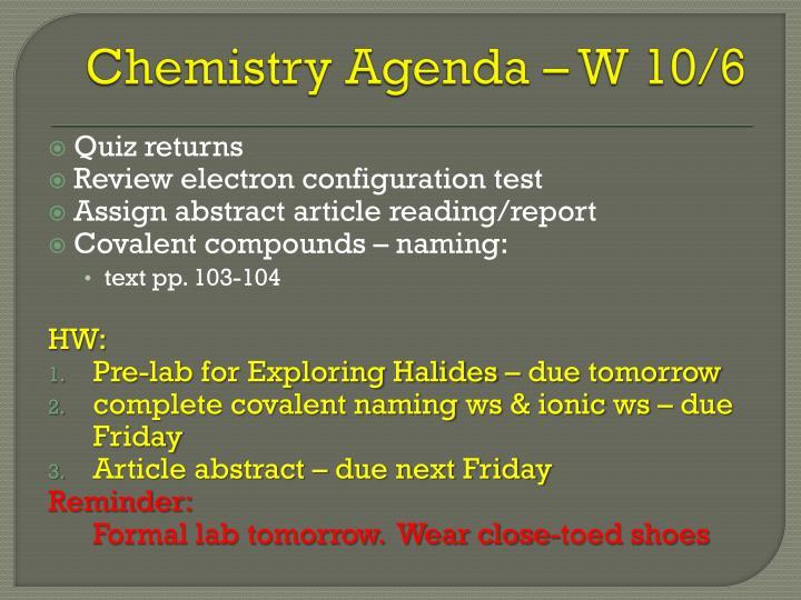 Chemistry Agenda – W 10/6