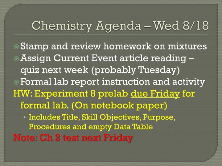 Chemistry Agenda – Wed 8/18