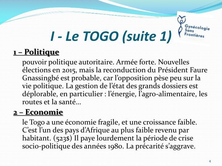 I - Le TOGO (suite 1)