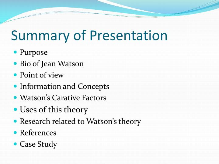 summary of a pragmatic view of jean watsons caring theory Jean watson nursing theory essay and transpersonal caring theory jean watsons   this research paper a pragmatic view of jean watson's caring theory caring.