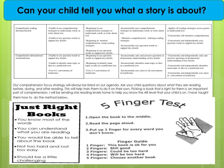 Can your child tell you what a story is about?