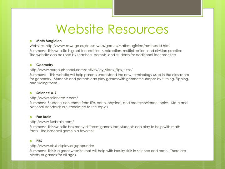 Website Resources