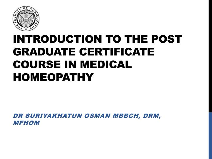 PPT - INTRODUCTION TO THE POST GRADUATE CERTIFICATE COURSE IN