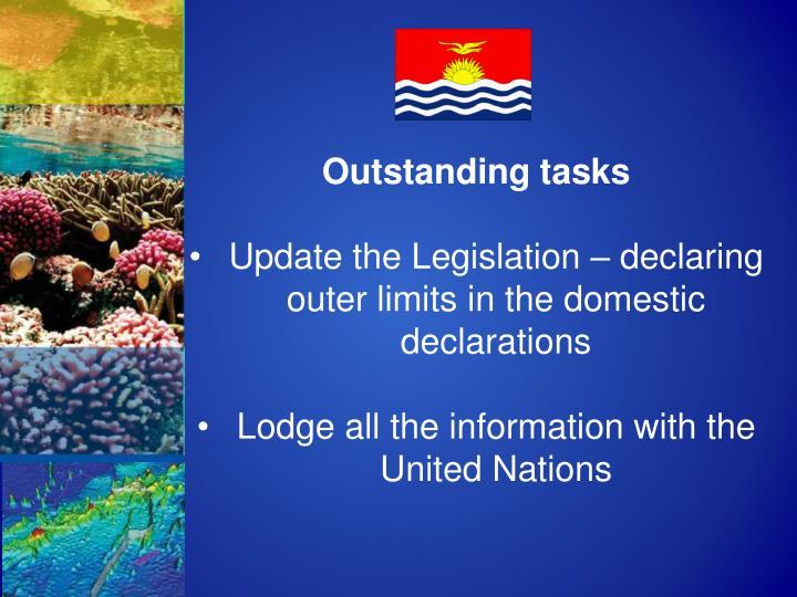 Outstanding tasks