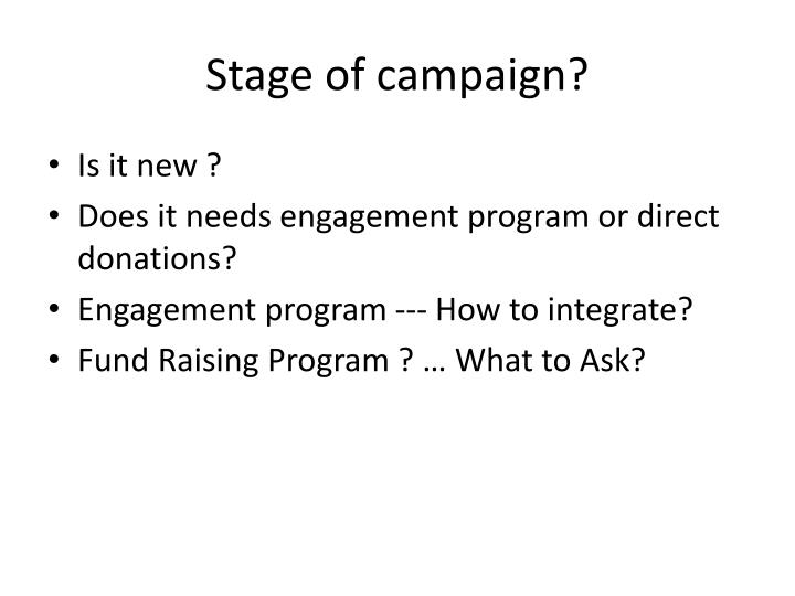 Stage of campaign?
