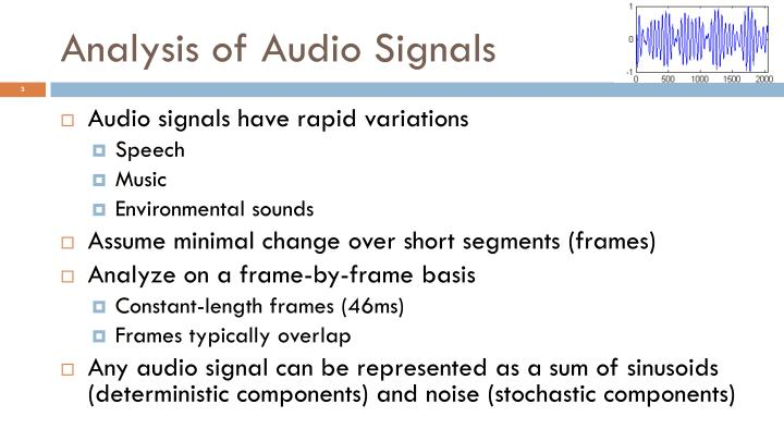 Analysis of audio signals