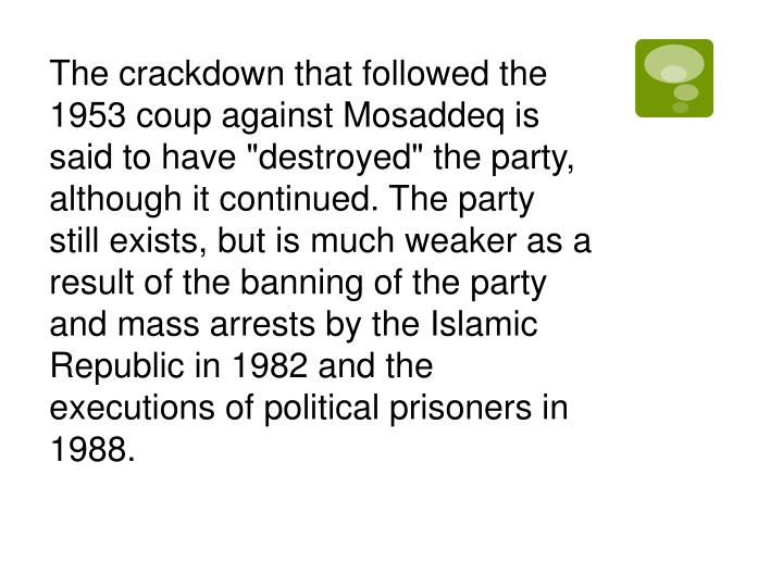 The crackdown that followed the 1953 coup against