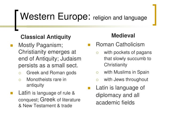 Western europe religion and language