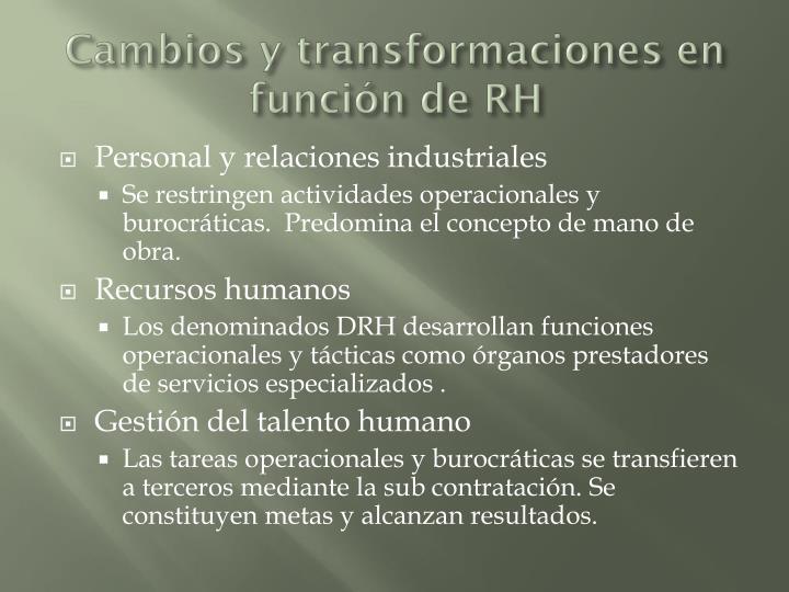 Cambios y transformaciones en función de RH