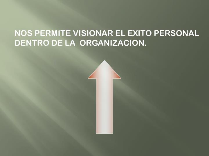 NOS PERMITE VISIONAR EL EXITO PERSONAL DENTRO DE LA  ORGANIZACION.
