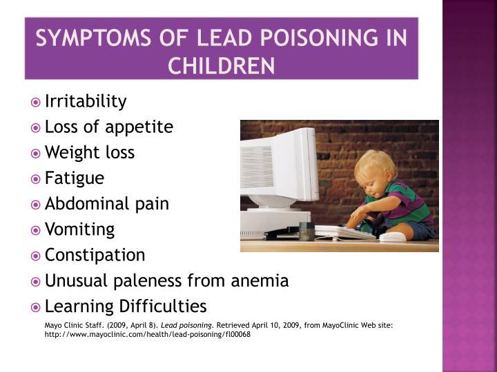 Symptoms of Lead Poisoning in Children