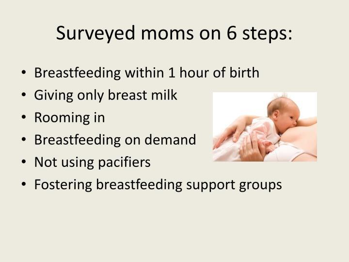 Surveyed moms on 6 steps: